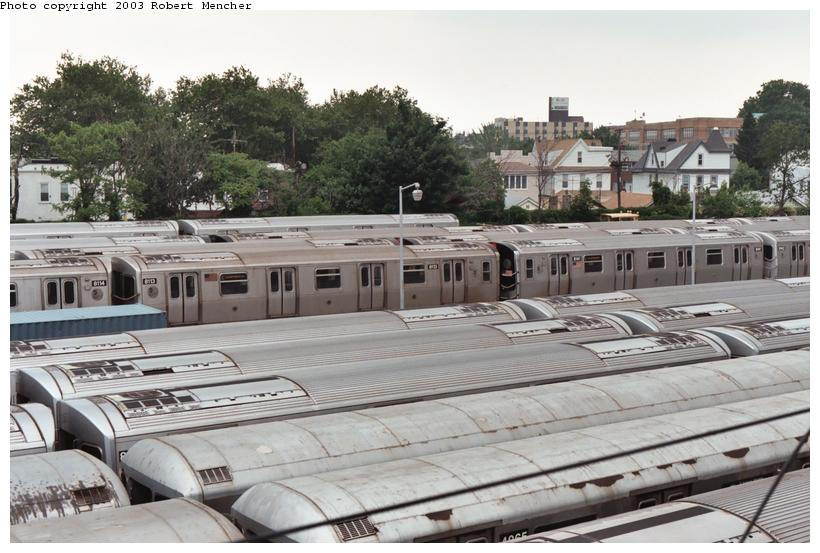 (109k, 820x553)<br><b>Country:</b> United States<br><b>City:</b> New York<br><b>System:</b> New York City Transit<br><b>Location:</b> Rockaway Parkway (Canarsie) Yard<br><b>Car:</b> R-143 (Kawasaki, 2001-2002) 8113 <br><b>Photo by:</b> Robert Mencher<br><b>Date:</b> 6/2003<br><b>Viewed (this week/total):</b> 0 / 7270