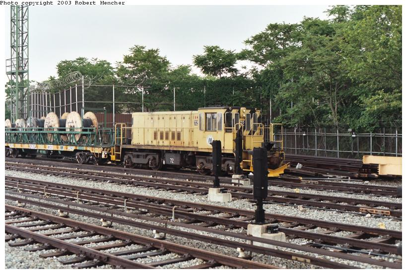 (141k, 820x553)<br><b>Country:</b> United States<br><b>City:</b> New York<br><b>System:</b> New York City Transit<br><b>Location:</b> Rockaway Parkway (Canarsie) Yard<br><b>Car:</b> R-52 Locomotive  72 <br><b>Photo by:</b> Robert Mencher<br><b>Date:</b> 6/2003<br><b>Viewed (this week/total):</b> 2 / 3082