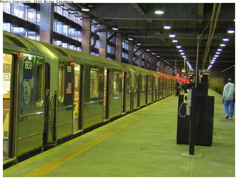 (101k, 820x620)<br><b>Country:</b> United States<br><b>City:</b> New York<br><b>System:</b> New York City Transit<br><b>Line:</b> IRT Lenox Line<br><b>Location:</b> 148th Street/Lenox Terminal <br><b>Car:</b> R-62A (Bombardier, 1984-1987)  1808 <br><b>Photo by:</b> Brian Weinberg<br><b>Date:</b> 6/24/2003<br><b>Viewed (this week/total):</b> 0 / 6765