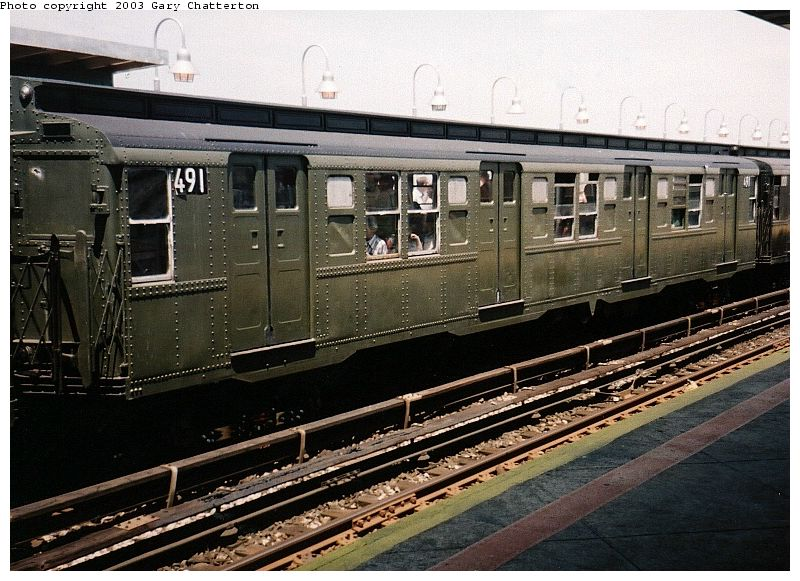 (108k, 800x581)<br><b>Country:</b> United States<br><b>City:</b> New York<br><b>System:</b> New York City Transit<br><b>Line:</b> IND Rockaway<br><b>Location:</b> Beach 90th Street/Holland <br><b>Route:</b> Fan Trip<br><b>Car:</b> R-4 (American Car & Foundry, 1932-1933) 491 (ex-401)<br><b>Photo by:</b> Gary Chatterton<br><b>Date:</b> 6/28/2003<br><b>Viewed (this week/total):</b> 3 / 3159