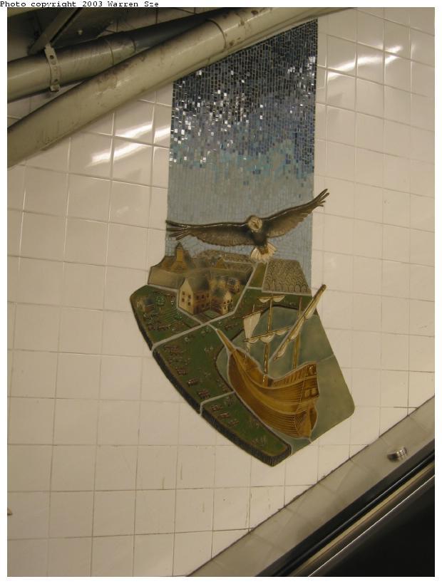 (55k, 620x820)<br><b>Country:</b> United States<br><b>City:</b> New York<br><b>System:</b> New York City Transit<br><b>Line:</b> BMT Broadway Line<br><b>Location:</b> Whitehall Street <br><b>Photo by:</b> Warren Sze<br><b>Date:</b> 7/3/2003<br><b>Artwork:</b> <i>Passages</i>, Frank Giorgini (2000).<br><b>Notes:</b> South exit<br><b>Viewed (this week/total):</b> 2 / 2581