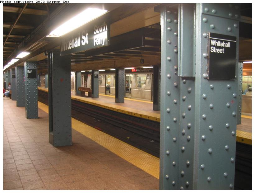 (65k, 820x620)<br><b>Country:</b> United States<br><b>City:</b> New York<br><b>System:</b> New York City Transit<br><b>Line:</b> BMT Broadway Line<br><b>Location:</b> Whitehall Street <br><b>Photo by:</b> Warren Sze<br><b>Date:</b> 7/3/2003<br><b>Notes:</b> Southbound platform<br><b>Viewed (this week/total):</b> 1 / 4488