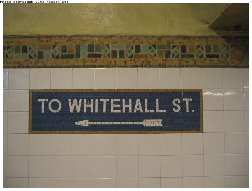 (54k, 820x620)<br><b>Country:</b> United States<br><b>City:</b> New York<br><b>System:</b> New York City Transit<br><b>Line:</b> BMT Broadway Line<br><b>Location:</b> Whitehall Street <br><b>Photo by:</b> Warren Sze<br><b>Date:</b> 7/3/2003<br><b>Notes:</b> North exit<br><b>Viewed (this week/total):</b> 1 / 2191