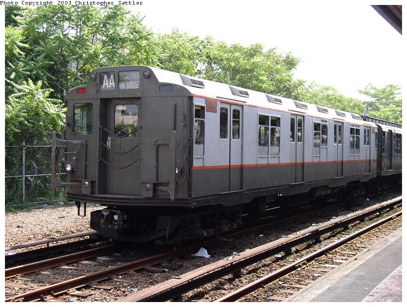 (118k, 820x619)<br><b>Country:</b> United States<br><b>City:</b> New York<br><b>System:</b> New York City Transit<br><b>Line:</b> IND Rockaway<br><b>Location:</b> Rockaway Park/Beach 116th Street <br><b>Route:</b> Fan Trip<br><b>Car:</b> R-7A (Pullman, 1938)  1575 <br><b>Photo by:</b> Christopher Sattler<br><b>Date:</b> 6/28/2003<br><b>Viewed (this week/total):</b> 4 / 7389