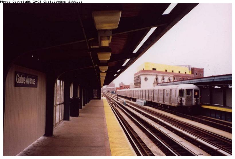 (54k, 820x556)<br><b>Country:</b> United States<br><b>City:</b> New York<br><b>System:</b> New York City Transit<br><b>Line:</b> BMT Nassau Street/Jamaica Line<br><b>Location:</b> Gates Avenue <br><b>Car:</b> R-42 (St. Louis, 1969-1970)   <br><b>Photo by:</b> Christopher Sattler<br><b>Date:</b> 4/1/2002<br><b>Viewed (this week/total):</b> 2 / 5980