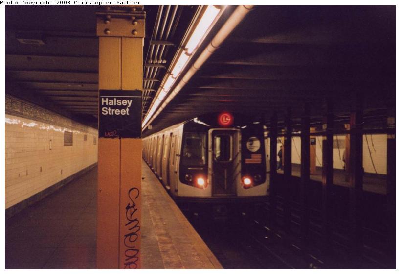 (51k, 820x559)<br><b>Country:</b> United States<br><b>City:</b> New York<br><b>System:</b> New York City Transit<br><b>Line:</b> BMT Canarsie Line<br><b>Location:</b> Halsey Street <br><b>Route:</b> L<br><b>Car:</b> R-143 (Kawasaki, 2001-2002)  <br><b>Photo by:</b> Christopher Sattler<br><b>Date:</b> 4/1/2002<br><b>Viewed (this week/total):</b> 0 / 9099