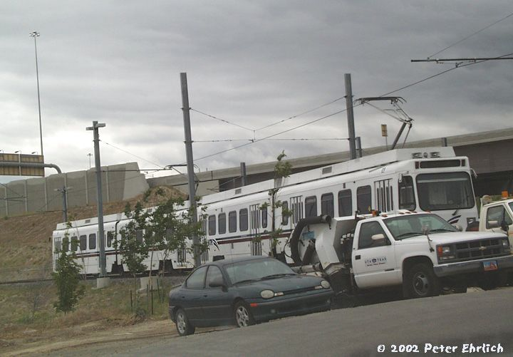 (58k, 720x501)<br><b>Country:</b> United States<br><b>City:</b> Salt Lake City, UT<br><b>System:</b> TRAX<br><b>Location:</b> Loverdahl Maintenance Facility <br><b>Photo by:</b> Peter Ehrlich<br><b>Date:</b> 6/9/2002<br><b>Notes:</b> Like Sacramento, Salt Lake City is negotiating to purchase a group of Santa Clara County VTA LRVs built by UTDC in 1987.  Two sample cars, 829 and 816, sit in the TRAX maintenance facility.<br><b>Viewed (this week/total):</b> 0 / 5831