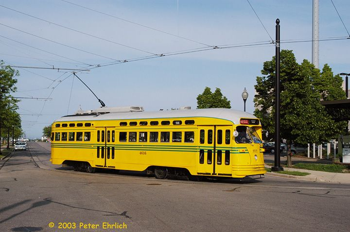 (68k, 720x478)<br><b>Country:</b> United States<br><b>City:</b> Kenosha, WI<br><b>System:</b> Kenosha Electric Railway<br><b>Location:</b> 54th St. & 11th Ave. (West to South Turn) <br><b>Car:</b> PCC (TTC Toronto) 4616 <br><b>Photo by:</b> Peter Ehrlich<br><b>Date:</b> 6/13/2003<br><b>Viewed (this week/total):</b> 0 / 2978