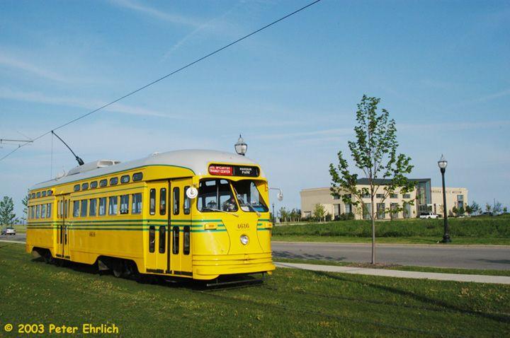 (57k, 720x478)<br><b>Country:</b> United States<br><b>City:</b> Kenosha, WI<br><b>System:</b> Kenosha Electric Railway<br><b>Location:</b> 54th St. & 2nd Ave. (Westbound) <br><b>Car:</b> PCC (TTC Toronto) 4616 <br><b>Photo by:</b> Peter Ehrlich<br><b>Date:</b> 6/13/2003<br><b>Notes:</b> Kenosha Public Museum in the background.<br><b>Viewed (this week/total):</b> 0 / 2792