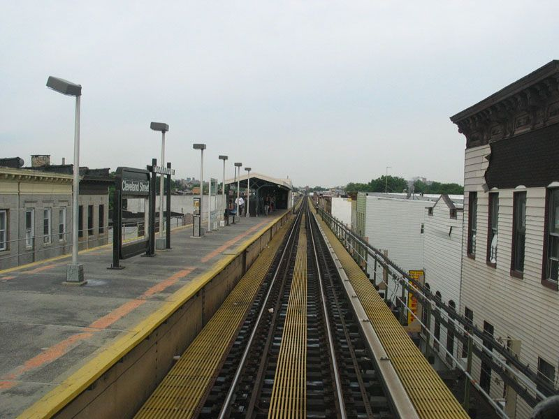 (94k, 800x600)<br><b>Country:</b> United States<br><b>City:</b> New York<br><b>System:</b> New York City Transit<br><b>Line:</b> BMT Nassau Street/Jamaica Line<br><b>Location:</b> Cleveland Street <br><b>Photo by:</b> Robert Pastore<br><b>Date:</b> 4/27/2003<br><b>Viewed (this week/total):</b> 0 / 3258