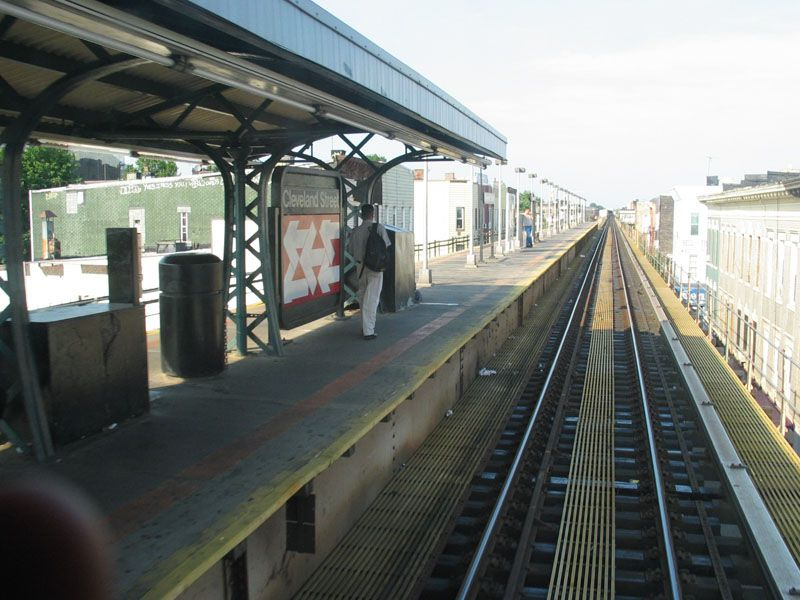 (103k, 800x600)<br><b>Country:</b> United States<br><b>City:</b> New York<br><b>System:</b> New York City Transit<br><b>Line:</b> BMT Nassau Street/Jamaica Line<br><b>Location:</b> Cleveland Street <br><b>Photo by:</b> Robert Pastore<br><b>Date:</b> 4/27/2003<br><b>Viewed (this week/total):</b> 1 / 3095
