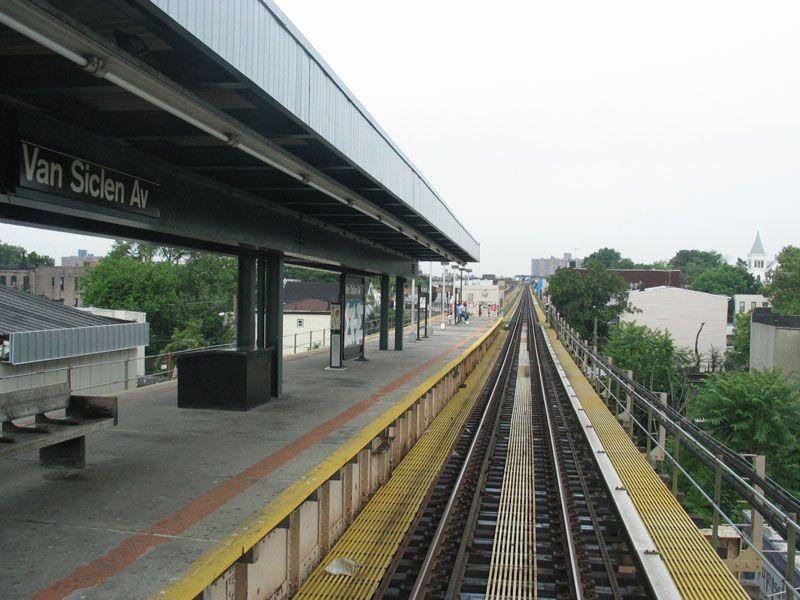 (104k, 800x600)<br><b>Country:</b> United States<br><b>City:</b> New York<br><b>System:</b> New York City Transit<br><b>Line:</b> BMT Nassau Street/Jamaica Line<br><b>Location:</b> Van Siclen Avenue <br><b>Photo by:</b> Robert Pastore<br><b>Date:</b> 4/27/2003<br><b>Viewed (this week/total):</b> 4 / 3491