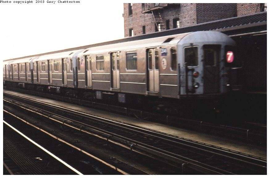 (83k, 875x576)<br><b>Country:</b> United States<br><b>City:</b> New York<br><b>System:</b> New York City Transit<br><b>Line:</b> IRT Flushing Line<br><b>Location:</b> 52nd Street/Lincoln Avenue <br><b>Route:</b> 7<br><b>Car:</b> R-62A (Bombardier, 1984-1987)  2046 <br><b>Photo by:</b> Gary Chatterton<br><b>Date:</b> 6/27/2003<br><b>Viewed (this week/total):</b> 0 / 2444