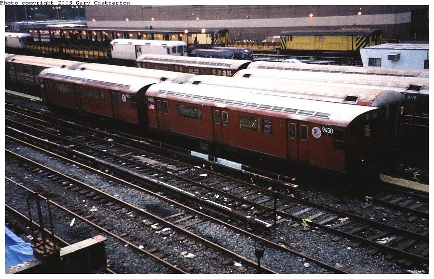 (121k, 865x556)<br><b>Country:</b> United States<br><b>City:</b> New York<br><b>System:</b> New York City Transit<br><b>Location:</b> Corona Yard<br><b>Car:</b> R-36 World's Fair (St. Louis, 1963-64) 9450/9451 <br><b>Photo by:</b> Gary Chatterton<br><b>Date:</b> 6/27/2003<br><b>Viewed (this week/total):</b> 0 / 3393