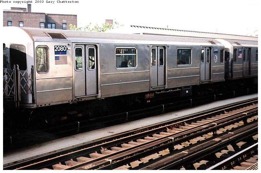 (110k, 860x571)<br><b>Country:</b> United States<br><b>City:</b> New York<br><b>System:</b> New York City Transit<br><b>Line:</b> IRT Flushing Line<br><b>Location:</b> 52nd Street/Lincoln Avenue <br><b>Route:</b> 7<br><b>Car:</b> R-62A (Bombardier, 1984-1987)  2080 <br><b>Photo by:</b> Gary Chatterton<br><b>Date:</b> 7/3/2003<br><b>Viewed (this week/total):</b> 0 / 3000