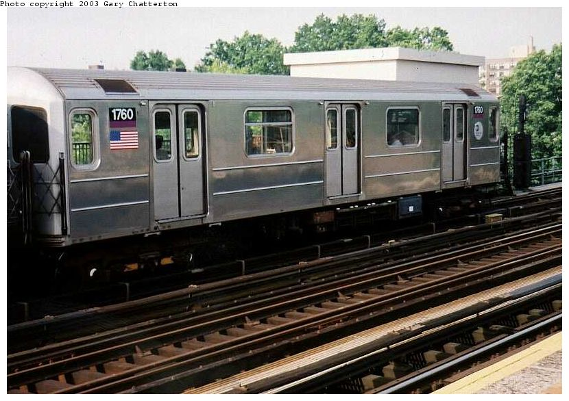 (101k, 830x586)<br><b>Country:</b> United States<br><b>City:</b> New York<br><b>System:</b> New York City Transit<br><b>Line:</b> IRT Flushing Line<br><b>Location:</b> 69th Street/Fisk Avenue <br><b>Route:</b> 7<br><b>Car:</b> R-62A (Bombardier, 1984-1987)  1760 <br><b>Photo by:</b> Gary Chatterton<br><b>Date:</b> 7/2/2003<br><b>Viewed (this week/total):</b> 3 / 2983