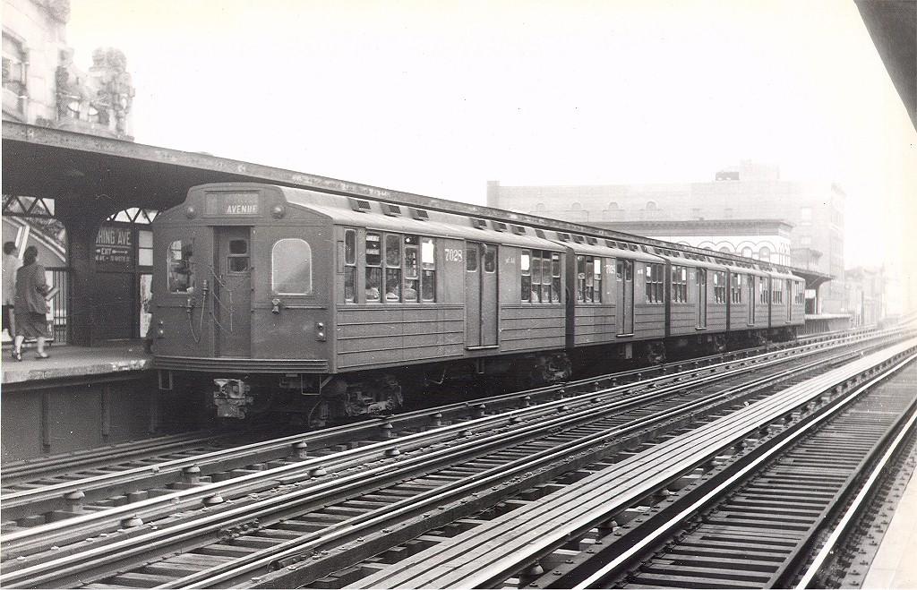 (234k, 1024x659)<br><b>Country:</b> United States<br><b>City:</b> New York<br><b>System:</b> New York City Transit<br><b>Line:</b> BMT Nassau Street/Jamaica Line<br><b>Location:</b> Flushing Avenue <br><b>Route:</b> BMT 10<br><b>Car:</b> BMT Multi 7028 <br><b>Photo by:</b> Hal Smith Collection<br><b>Collection of:</b> Joe Testagrose<br><b>Date:</b> 1959<br><b>Viewed (this week/total):</b> 2 / 2996