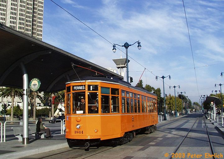 (78k, 720x511)<br><b>Country:</b> United States<br><b>City:</b> San Francisco/Bay Area, CA<br><b>System:</b> SF MUNI<br><b>Location:</b> Embarcadero/Ferry Building <br><b>Car:</b> Milan Milano/Peter Witt (1927-1930)  1814 <br><b>Photo by:</b> Peter Ehrlich<br><b>Date:</b> 10/20/2001<br><b>Viewed (this week/total):</b> 0 / 1728