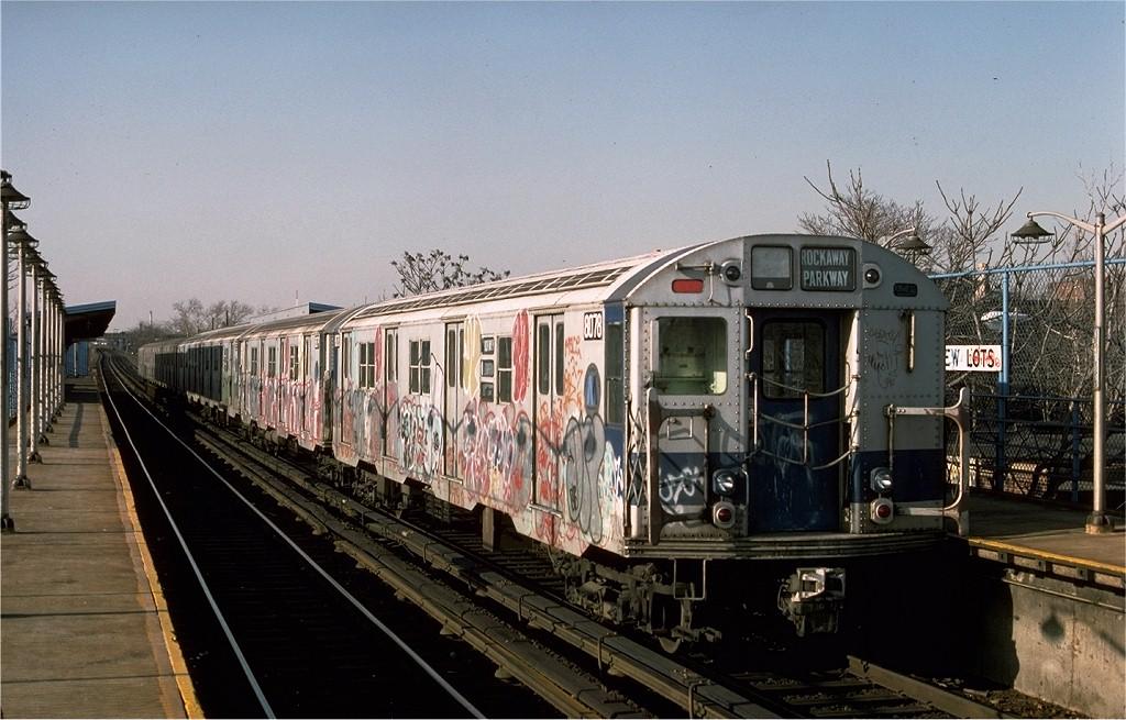 (197k, 1024x655)<br><b>Country:</b> United States<br><b>City:</b> New York<br><b>System:</b> New York City Transit<br><b>Line:</b> BMT Canarsie Line<br><b>Location:</b> New Lots Avenue <br><b>Route:</b> LL<br><b>Car:</b> R-27 (St. Louis, 1960)  8078 <br><b>Photo by:</b> Ed McKernan<br><b>Collection of:</b> Joe Testagrose<br><b>Date:</b> 3/4/1977<br><b>Viewed (this week/total):</b> 3 / 4327