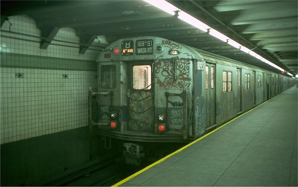 (148k, 1024x642)<br><b>Country:</b> United States<br><b>City:</b> New York<br><b>System:</b> New York City Transit<br><b>Line:</b> IND 6th Avenue Line<br><b>Location:</b> 23rd Street <br><b>Route:</b> B<br><b>Car:</b> R-27 (St. Louis, 1960)  8093 <br><b>Photo by:</b> Doug Grotjahn<br><b>Collection of:</b> Joe Testagrose<br><b>Date:</b> 12/14/1976<br><b>Viewed (this week/total):</b> 2 / 4891