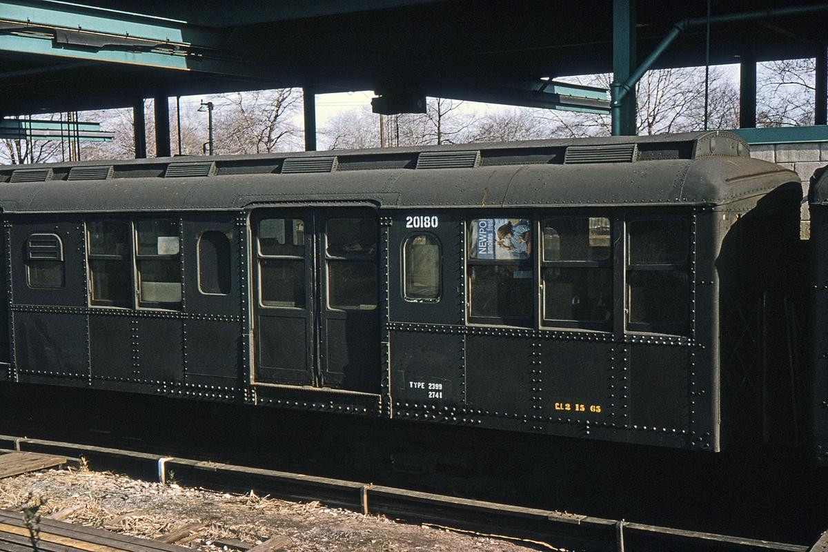 (394k, 1044x708)<br><b>Country:</b> United States<br><b>City:</b> New York<br><b>System:</b> New York City Transit<br><b>Location:</b> 36th Street Yard<br><b>Car:</b> BMT A/B-Type Standard 20180 (ex-2741)<br><b>Collection of:</b> David Pirmann<br><b>Date:</b> 2/28/1965<br><b>Viewed (this week/total):</b> 0 / 3187