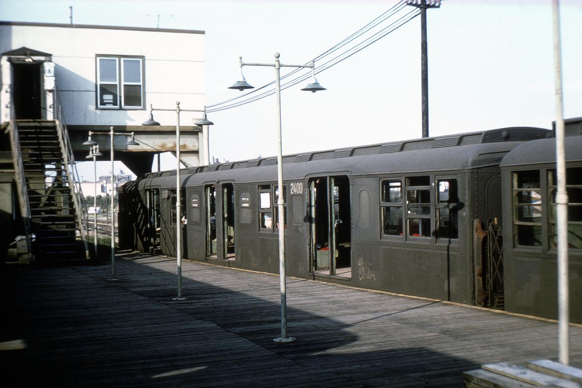 (348k, 1024x683)<br><b>Country:</b> United States<br><b>City:</b> New York<br><b>System:</b> New York City Transit<br><b>Line:</b> BMT Canarsie Line<br><b>Location:</b> Rockaway Parkway <br><b>Car:</b> BMT A/B-Type Standard 2400 <br><b>Collection of:</b> David Pirmann<br><b>Viewed (this week/total):</b> 0 / 3488