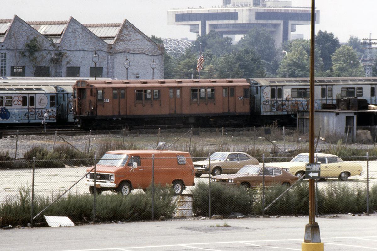 (692k, 1024x683)<br><b>Country:</b> United States<br><b>City:</b> New York<br><b>System:</b> New York City Transit<br><b>Location:</b> Corona Yard<br><b>Car:</b> R-12 (American Car & Foundry, 1948) 5713 <br><b>Photo by:</b> Steve Hoskins<br><b>Collection of:</b> David Pirmann<br><b>Date:</b> 8/1979<br><b>Viewed (this week/total):</b> 1 / 3764
