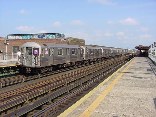 (61k, 640x480)<br><b>Country:</b> United States<br><b>City:</b> New York<br><b>System:</b> New York City Transit<br><b>Line:</b> IRT Flushing Line<br><b>Location:</b> 90th Street/Elmhurst Avenue <br><b>Route:</b> 7<br><b>Car:</b> R-62A (Bombardier, 1984-1987)  2132 <br><b>Photo by:</b> Salaam Allah<br><b>Date:</b> 9/21/2002<br><b>Viewed (this week/total):</b> 6 / 4336