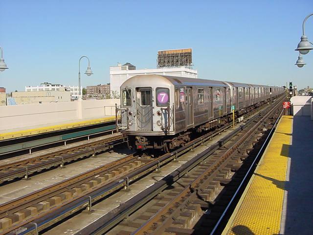 (60k, 640x480)<br><b>Country:</b> United States<br><b>City:</b> New York<br><b>System:</b> New York City Transit<br><b>Line:</b> IRT Flushing Line<br><b>Location:</b> 33rd Street/Rawson Street <br><b>Route:</b> 7<br><b>Car:</b> R-62A (Bombardier, 1984-1987)  2002 <br><b>Photo by:</b> Salaam Allah<br><b>Date:</b> 9/17/2002<br><b>Viewed (this week/total):</b> 0 / 3459