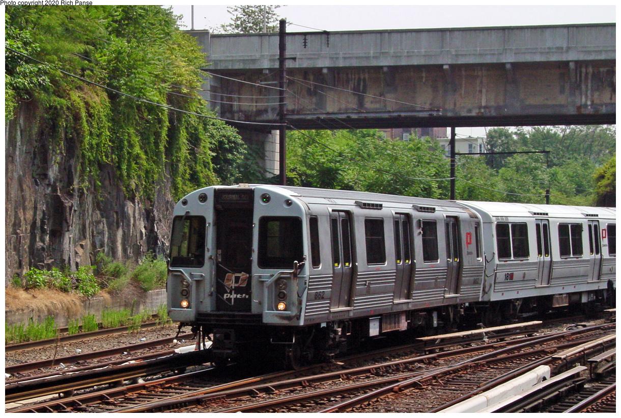 (111k, 820x620)<br><b>Country:</b> United States<br><b>City:</b> Jersey City, NJ<br><b>System:</b> PATH<br><b>Location:</b> Journal Square <br><b>Car:</b> PATH PA-4 (Kawasaki, 1986)  852 <br><b>Photo by:</b> Richard Panse<br><b>Date:</b> 7/23/2002<br><b>Viewed (this week/total):</b> 0 / 3634