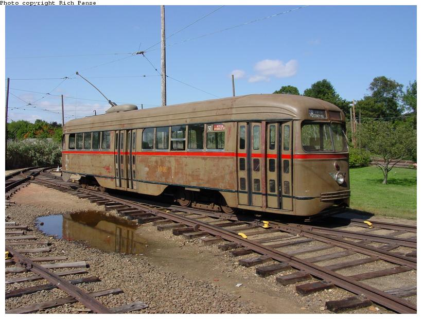 (97k, 820x620)<br><b>Country:</b> United States<br><b>City:</b> East Haven/Branford, Ct.<br><b>System:</b> Shore Line Trolley Museum <br><b>Car:</b> Brooklyn & Queens Transit PCC (St. Louis Car, 1936)  1001 <br><b>Photo by:</b> Richard Panse<br><b>Date:</b> 9/28/2002<br><b>Viewed (this week/total):</b> 2 / 6651
