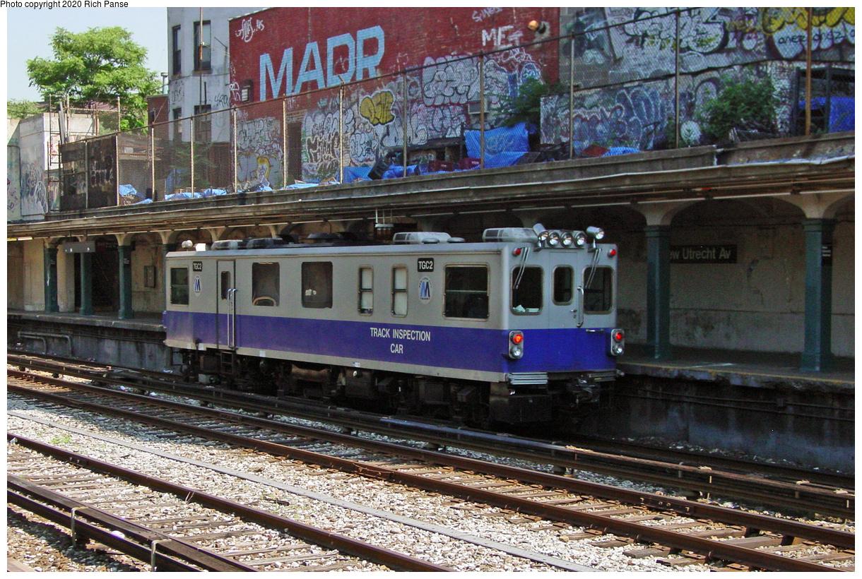 (119k, 820x620)<br><b>Country:</b> United States<br><b>City:</b> New York<br><b>System:</b> New York City Transit<br><b>Line:</b> BMT Sea Beach Line<br><b>Location:</b> New Utrecht Avenue <br><b>Car:</b> Track Geometry Car TGC2 <br><b>Photo by:</b> Richard Panse<br><b>Date:</b> 8/1/2002<br><b>Viewed (this week/total):</b> 1 / 5788