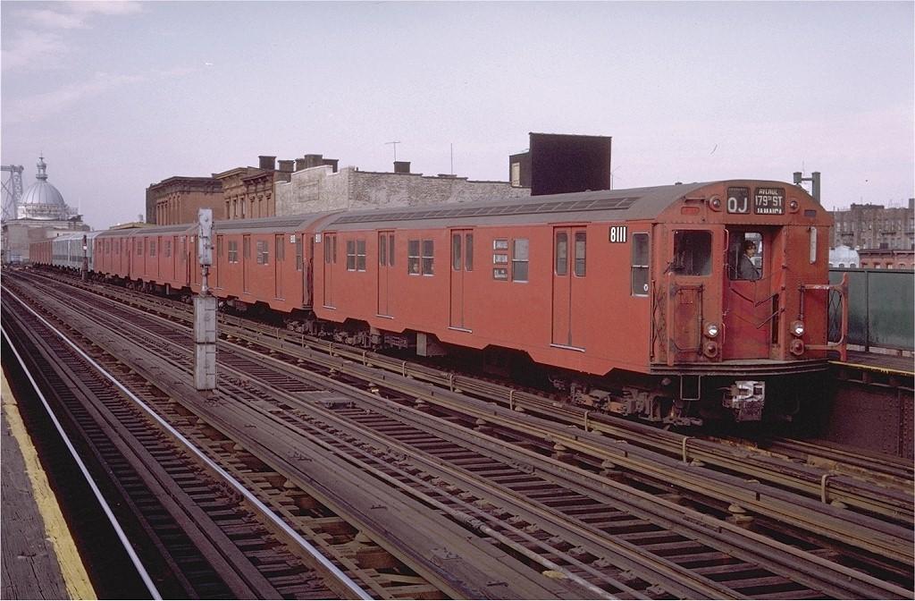 (215k, 1024x672)<br><b>Country:</b> United States<br><b>City:</b> New York<br><b>System:</b> New York City Transit<br><b>Line:</b> BMT Nassau Street/Jamaica Line<br><b>Location:</b> Marcy Avenue <br><b>Route:</b> QJ<br><b>Car:</b> R-27 (St. Louis, 1960)  8111 <br><b>Photo by:</b> Doug Grotjahn<br><b>Collection of:</b> Joe Testagrose<br><b>Date:</b> 11/3/1970<br><b>Viewed (this week/total):</b> 3 / 2404