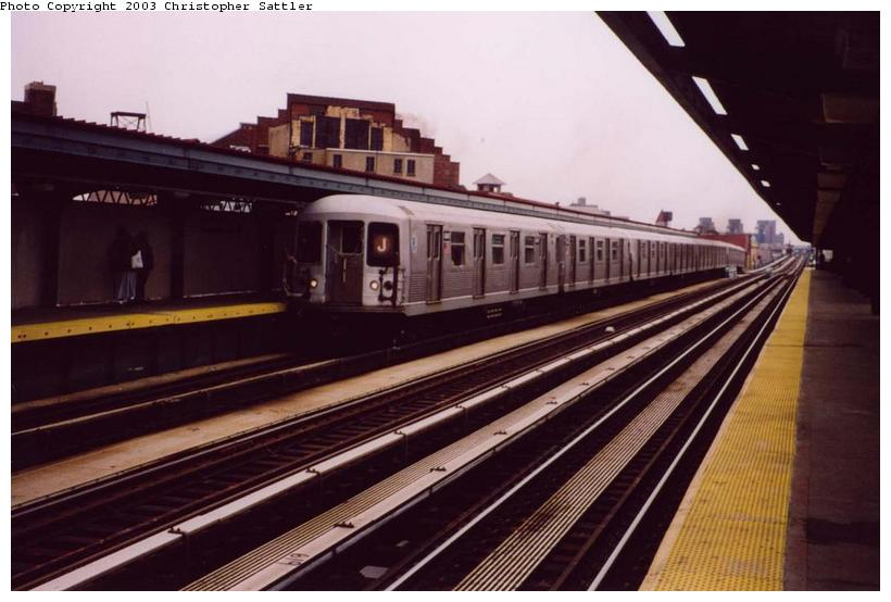 (63k, 820x554)<br><b>Country:</b> United States<br><b>City:</b> New York<br><b>System:</b> New York City Transit<br><b>Line:</b> BMT Nassau Street/Jamaica Line<br><b>Location:</b> Gates Avenue <br><b>Route:</b> J<br><b>Car:</b> R-42 (St. Louis, 1969-1970)   <br><b>Photo by:</b> Christopher Sattler<br><b>Date:</b> 4/1/2003<br><b>Viewed (this week/total):</b> 1 / 4885
