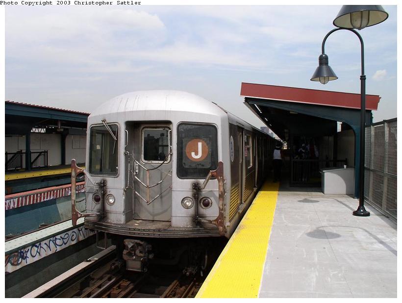 (65k, 820x618)<br><b>Country:</b> United States<br><b>City:</b> New York<br><b>System:</b> New York City Transit<br><b>Line:</b> BMT Nassau Street/Jamaica Line<br><b>Location:</b> Kosciuszko Street <br><b>Route:</b> J<br><b>Car:</b> R-42 (St. Louis, 1969-1970)   <br><b>Photo by:</b> Christopher Sattler<br><b>Date:</b> 7/31/2003<br><b>Viewed (this week/total):</b> 0 / 4526