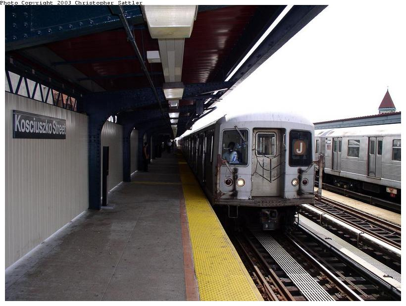 (79k, 820x618)<br><b>Country:</b> United States<br><b>City:</b> New York<br><b>System:</b> New York City Transit<br><b>Line:</b> BMT Nassau Street/Jamaica Line<br><b>Location:</b> Kosciuszko Street <br><b>Route:</b> J<br><b>Car:</b> R-42 (St. Louis, 1969-1970)   <br><b>Photo by:</b> Christopher Sattler<br><b>Date:</b> 7/31/2003<br><b>Viewed (this week/total):</b> 0 / 4536