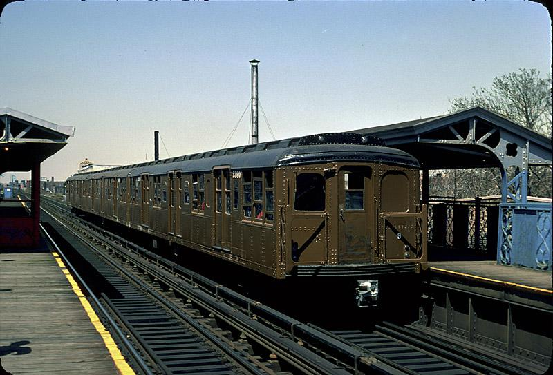 (94k, 800x543)<br><b>Country:</b> United States<br><b>City:</b> New York<br><b>System:</b> New York City Transit<br><b>Line:</b> BMT Canarsie Line<br><b>Location:</b> Livonia Avenue <br><b>Route:</b> Fan Trip<br><b>Car:</b> BMT A/B-Type Standard 2390 <br><b>Photo by:</b> Richard Ondrovic<br><b>Date:</b> 4/30/1977<br><b>Viewed (this week/total):</b> 0 / 2718