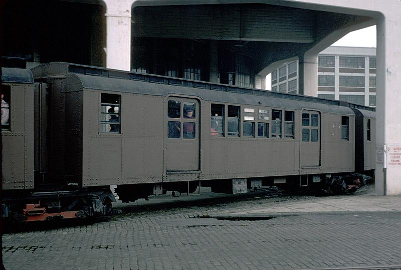 (77k, 800x539)<br><b>Country:</b> United States<br><b>City:</b> New York<br><b>System:</b> New York City Transit<br><b>Line:</b> South Brooklyn Railway<br><b>Location:</b> Bush Terminal - 2nd Ave & 41st (BTRR)<br><b>Route:</b> Fan Trip<br><b>Car:</b> BMT D-Type Triplex  <br><b>Photo by:</b> Richard Ondrovic<br><b>Date:</b> 9/20/1975<br><b>Viewed (this week/total):</b> 4 / 3637