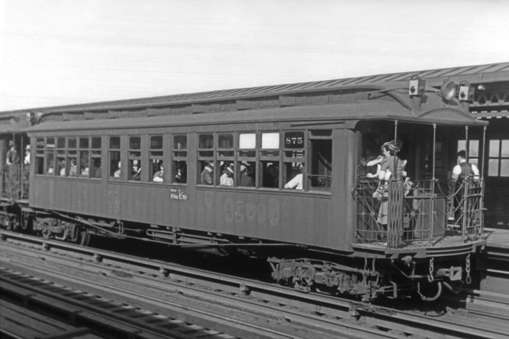 (188k, 1024x683)<br><b>Country:</b> United States<br><b>City:</b> New York<br><b>System:</b> New York City Transit<br><b>Line:</b> BMT Astoria Line<br><b>Location:</b> 36th/Washington Aves. <br><b>Car:</b> Manhattan El 875 <br><b>Photo by:</b> Frank Goldsmith<br><b>Collection of:</b> David Pirmann<br><b>Date:</b> 6/6/1940<br><b>Viewed (this week/total):</b> 0 / 3825