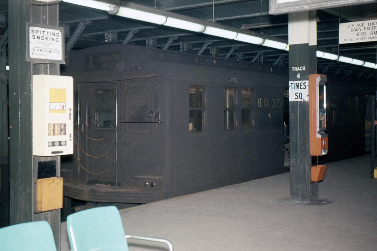 (349k, 1024x683)<br><b>Country:</b> United States<br><b>City:</b> New York<br><b>System:</b> New York City Transit<br><b>Line:</b> BMT Broadway Line<br><b>Location:</b> Times Square/42nd Street <br><b>Car:</b> BMT D-Type Triplex 6035 <br><b>Collection of:</b> David Pirmann<br><b>Date:</b> 3/20/1964<br><b>Viewed (this week/total):</b> 0 / 5081