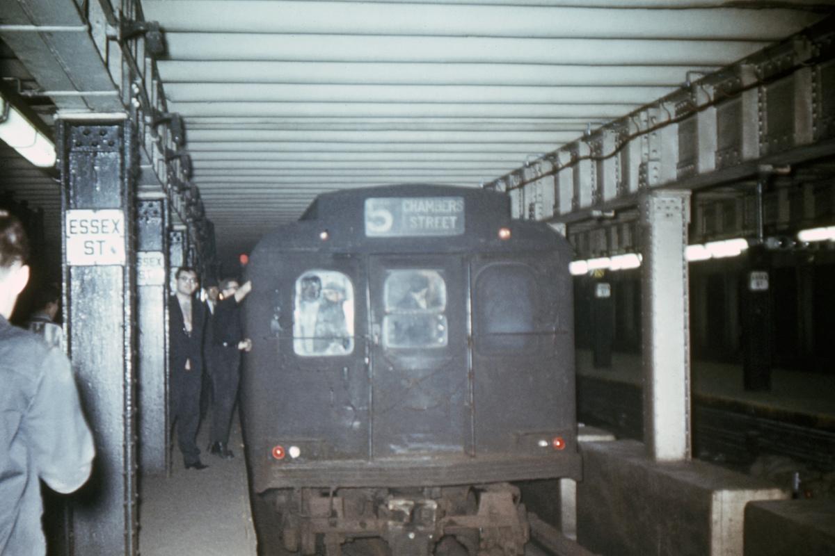 (292k, 1044x707)<br><b>Country:</b> United States<br><b>City:</b> New York<br><b>System:</b> New York City Transit<br><b>Line:</b> BMT Nassau Street/Jamaica Line<br><b>Location:</b> Essex Street <br><b>Route:</b> Fan Trip<br><b>Car:</b> BMT D-Type Triplex  <br><b>Collection of:</b> David Pirmann<br><b>Date:</b> 10/17/1965<br><b>Viewed (this week/total):</b> 1 / 5223