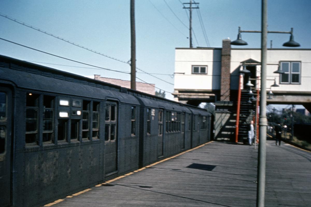 (317k, 1024x683)<br><b>Country:</b> United States<br><b>City:</b> New York<br><b>System:</b> New York City Transit<br><b>Line:</b> BMT Canarsie Line<br><b>Location:</b> Rockaway Parkway <br><b>Route:</b> Fan Trip<br><b>Car:</b> BMT D-Type Triplex 6112 <br><b>Collection of:</b> David Pirmann<br><b>Date:</b> 10/17/1965<br><b>Viewed (this week/total):</b> 16 / 3864