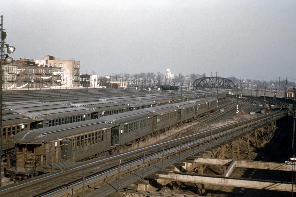 (497k, 1024x682)<br><b>Country:</b> United States<br><b>City:</b> New York<br><b>System:</b> New York City Transit<br><b>Location:</b> Fresh Pond Yard<br><b>Car:</b> BMT Elevated Gate Car 1345 <br><b>Collection of:</b> David Pirmann<br><b>Date:</b> 1/13/1952<br><b>Viewed (this week/total):</b> 0 / 5587