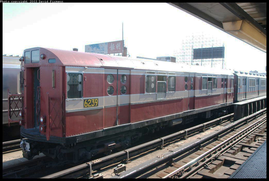 (205k, 1044x701)<br><b>Country:</b> United States<br><b>City:</b> New York<br><b>System:</b> New York City Transit<br><b>Line:</b> IRT Flushing Line<br><b>Location:</b> 33rd Street/Rawson Street <br><b>Route:</b> Fan Trip<br><b>Car:</b> R-15 (American Car & Foundry, 1950) 6239 <br><b>Photo by:</b> David Pirmann<br><b>Date:</b> 8/23/2003<br><b>Viewed (this week/total):</b> 1 / 2518