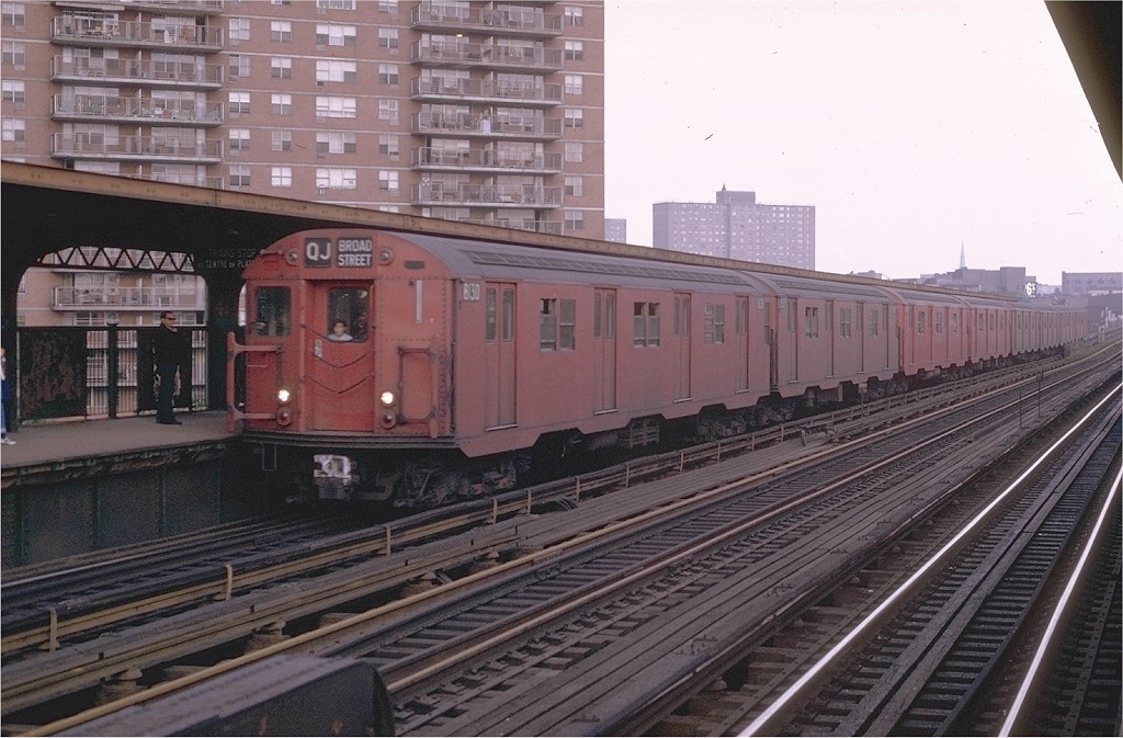 (202k, 1024x673)<br><b>Country:</b> United States<br><b>City:</b> New York<br><b>System:</b> New York City Transit<br><b>Line:</b> BMT Nassau Street/Jamaica Line<br><b>Location:</b> Lorimer Street <br><b>Route:</b> QJ<br><b>Car:</b> R-27 (St. Louis, 1960)  8130 <br><b>Photo by:</b> Joe Testagrose<br><b>Date:</b> 6/7/1970<br><b>Viewed (this week/total):</b> 2 / 3709