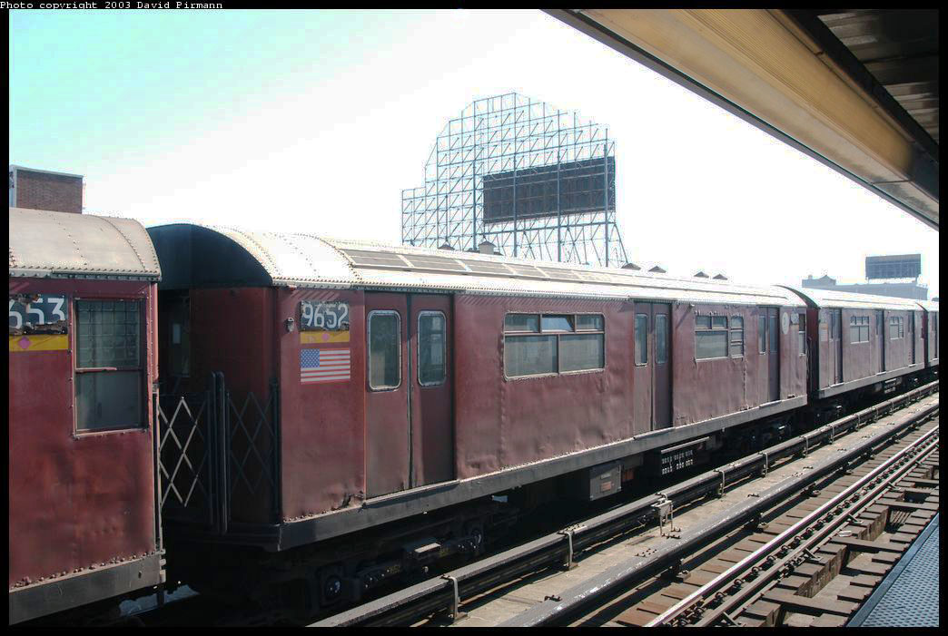 (200k, 1044x701)<br><b>Country:</b> United States<br><b>City:</b> New York<br><b>System:</b> New York City Transit<br><b>Line:</b> IRT Flushing Line<br><b>Location:</b> 33rd Street/Rawson Street <br><b>Route:</b> Fan Trip<br><b>Car:</b> R-36 World's Fair (St. Louis, 1963-64) 9652 <br><b>Photo by:</b> David Pirmann<br><b>Date:</b> 8/23/2003<br><b>Viewed (this week/total):</b> 0 / 2088