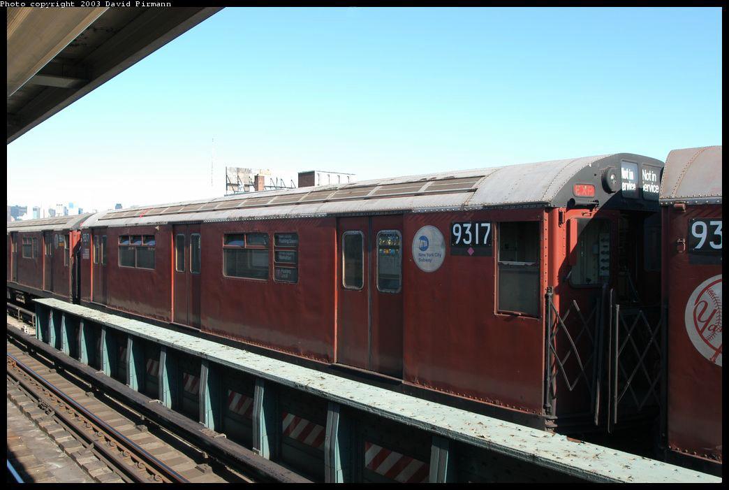(183k, 1044x701)<br><b>Country:</b> United States<br><b>City:</b> New York<br><b>System:</b> New York City Transit<br><b>Line:</b> IRT Flushing Line<br><b>Location:</b> 33rd Street/Rawson Street <br><b>Route:</b> Fan Trip<br><b>Car:</b> R-33 World's Fair (St. Louis, 1963-64) 9317 <br><b>Photo by:</b> David Pirmann<br><b>Date:</b> 8/23/2003<br><b>Viewed (this week/total):</b> 0 / 2261