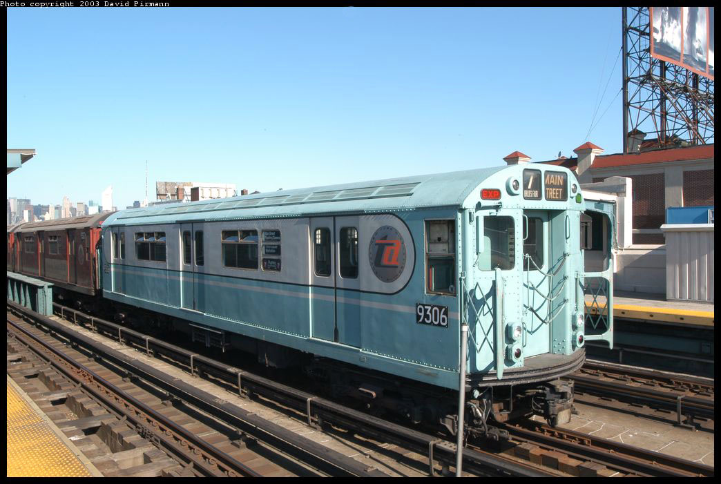 (208k, 1044x701)<br><b>Country:</b> United States<br><b>City:</b> New York<br><b>System:</b> New York City Transit<br><b>Line:</b> IRT Flushing Line<br><b>Location:</b> 33rd Street/Rawson Street <br><b>Route:</b> Fan Trip<br><b>Car:</b> R-33 World's Fair (St. Louis, 1963-64) 9306 <br><b>Photo by:</b> David Pirmann<br><b>Date:</b> 8/23/2003<br><b>Viewed (this week/total):</b> 6 / 11527