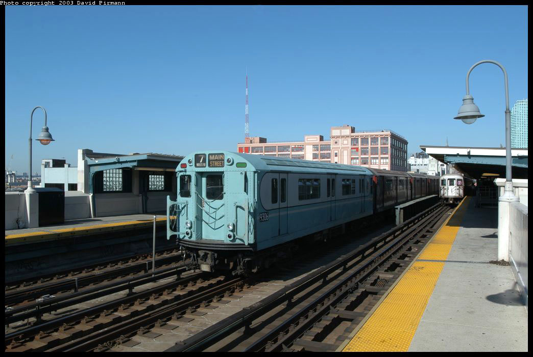(187k, 1044x701)<br><b>Country:</b> United States<br><b>City:</b> New York<br><b>System:</b> New York City Transit<br><b>Line:</b> IRT Flushing Line<br><b>Location:</b> 33rd Street/Rawson Street <br><b>Route:</b> Fan Trip<br><b>Car:</b> R-33 World's Fair (St. Louis, 1963-64) 9306 <br><b>Photo by:</b> David Pirmann<br><b>Date:</b> 8/23/2003<br><b>Viewed (this week/total):</b> 2 / 3245