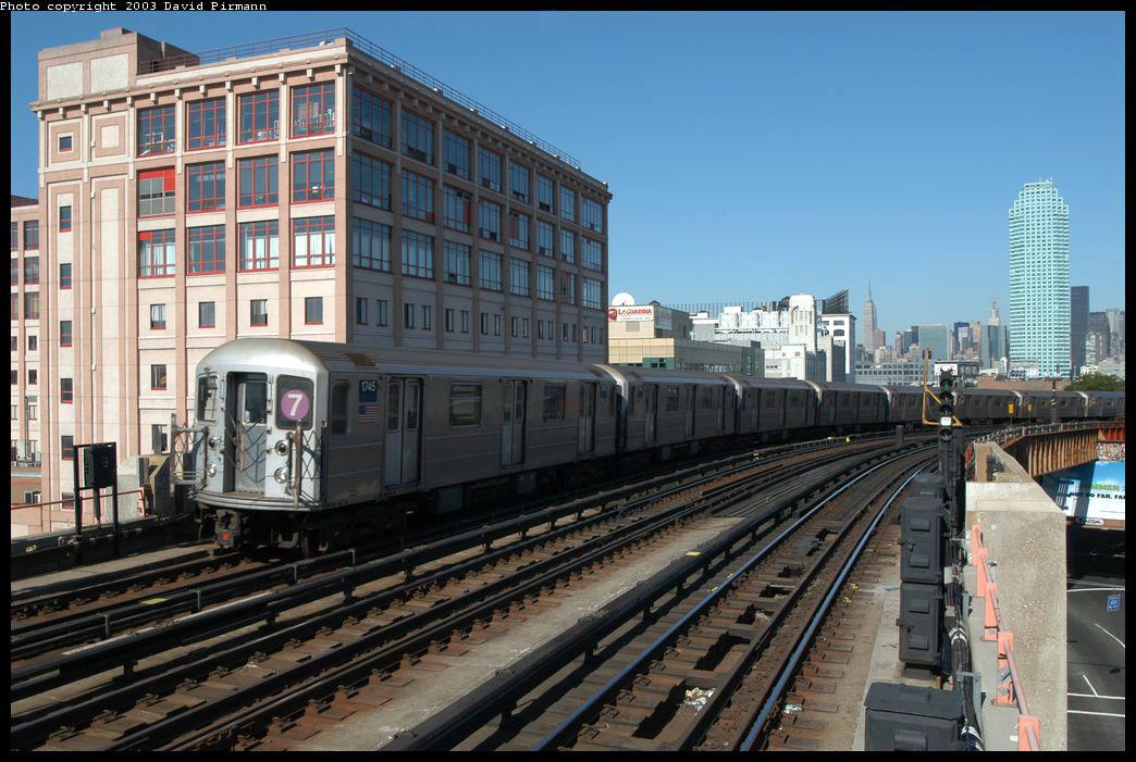 (224k, 1044x701)<br><b>Country:</b> United States<br><b>City:</b> New York<br><b>System:</b> New York City Transit<br><b>Line:</b> IRT Flushing Line<br><b>Location:</b> 33rd Street/Rawson Street <br><b>Route:</b> 7<br><b>Car:</b> R-62A (Bombardier, 1984-1987)  1745 <br><b>Photo by:</b> David Pirmann<br><b>Date:</b> 8/23/2003<br><b>Viewed (this week/total):</b> 1 / 2763